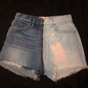 Pants - Two toned denim shorts